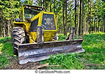 excavadora, bosque