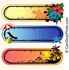 Set of tropical banners