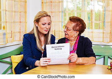grandson and grandmother. generation contract - a grandson...