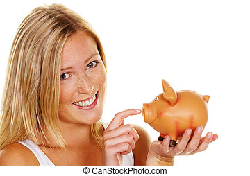 young woman, to save money - a young woman saves money and...
