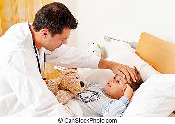 doctor, casa, llamada, examina, enfermo, niño