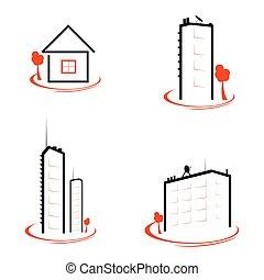 Color, casa, Ilustración, señal,  vector, negro, naranja