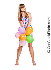 Teen girl with colorful ballons - Teen girl playing with...