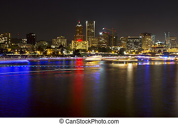 Boat Light Trails Along Willamette River in Portland Oregon...