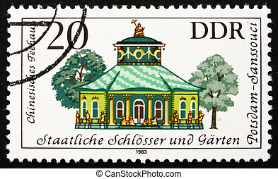 Postage stamp GDR 1983 Chinese Teahouse, Potsdam, Germany -...