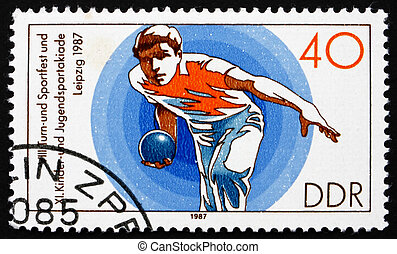 Postage stamp GDR 1987 Bowling - GDR - CIRCA 1987: a stamp...