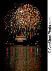 Fireworks reflections - Washington DC fireworks over the...