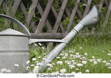 Watering can in spring blooming garden