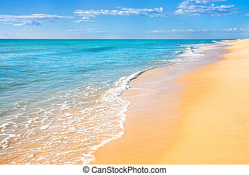 Sand beach water background - Sand beach with surf water...