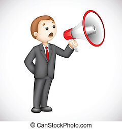 3d Business Man with Megaphone in Vector - illustration of...