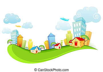 City Scape - illustration of tall building and house on city...