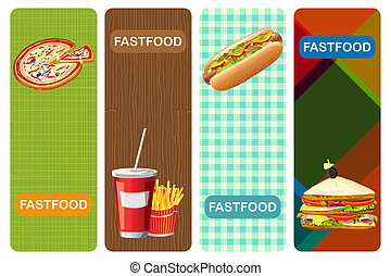 Food Banner - illustration of different fastfood banner with...