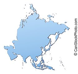 Asia map filled with light blue gradient. High resolution....