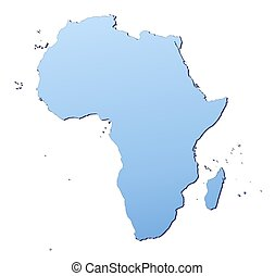 Africa map filled with light blue gradient. High resolution....