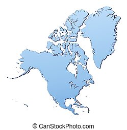 North America map filled with light blue gradient. High...