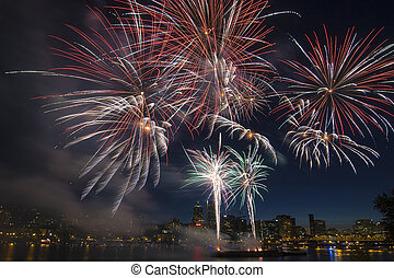 4th of July Fireworks Display in Portland Oregon Along...