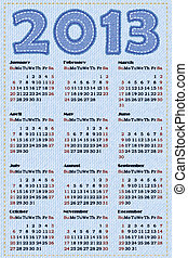 Calendar 2013 Vector illustration Simulation of jeans...