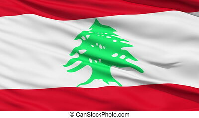 Waving national flag of Lebanon - Closeup cropped view of a...