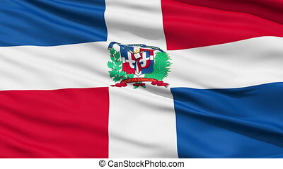 Waving national flag of Dominican - Closeup cropped view of...