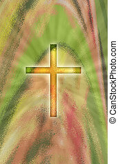 A glowing cross on abstract background