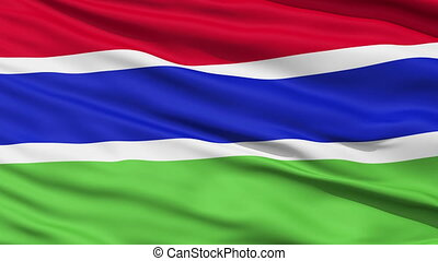 Waving national flag of Gambia - Closeup cropped view of a...