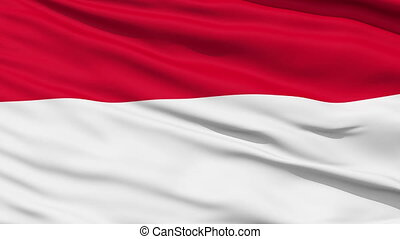Waving national flag of Indonesia - Closeup cropped view of...