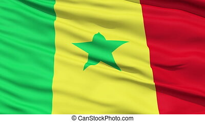 Waving national flag of Senegal - Closeup cropped view of a...