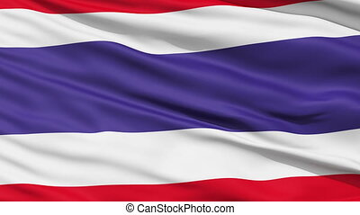 Waving national flag of Thailand - Closeup cropped view of a...