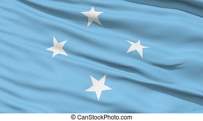Waving national flag of Micronesia - Closeup cropped view of...