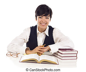 Smiling Mixed Race Female Student with Books Isolated