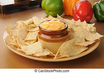 tortilla chips with salsa con queso - A party tray of...