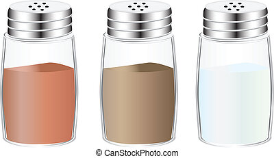 Spices in glass containers with holes in the lid. Vector...