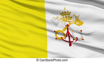 Waving national flag of Vatican - Closeup cropped view of a...