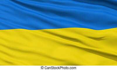 Waving national flag of Ukraine - Closeup cropped view of a...