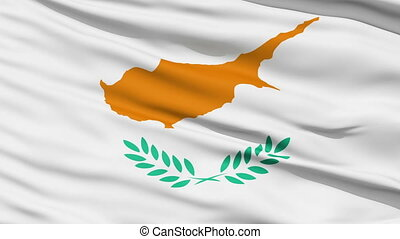 Waving national flag of Cyprus - Closeup cropped view of a...