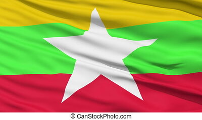 Waving national flag of Myanmar - Closeup cropped view of a...