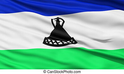 Waving national flag of Lesotho - Closeup cropped view of a...