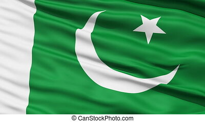 Waving national flag of Pakistan - Closeup cropped view of a...