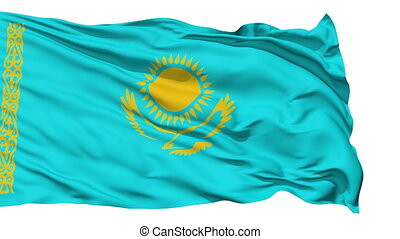 Waving national flag of Kazakhstan