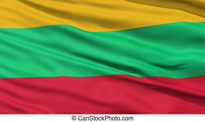 Waving national flag of Lithuania - Closeup cropped view of...