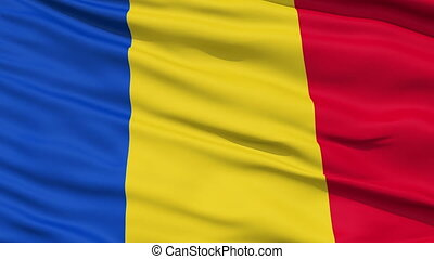 Waving national flag of Chad - Closeup cropped view of a...
