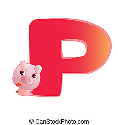 animal alphabet P - illustration of isolated animal alphabet...