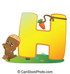 animal alphabet H - illustration of isolated animal alphabet...