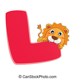 animal alphabet L - illustration of isolated animal alphabet...