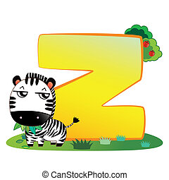 Animal alphabet Z - illustration of isolated animal alphabet...