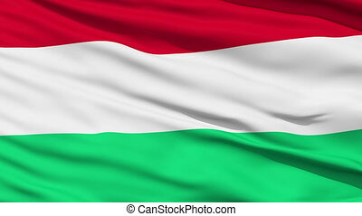 Waving national flag of Hungary - Closeup cropped view of a...