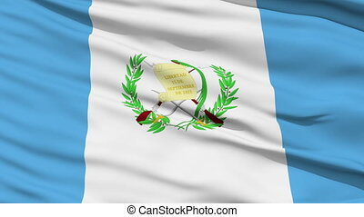 Waving national flag of Guatemala - Closeup cropped view of...