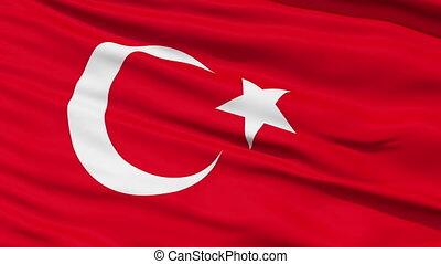 Waving national flag of Turkey - Closeup cropped view of a...