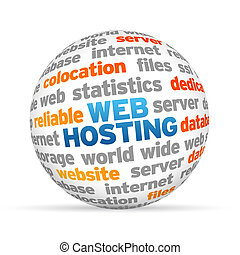 Web Hosting - 3d Web Hosting Word Sphere on white...