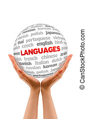 Languages - Hands holding a Languages Sphere sign on white...